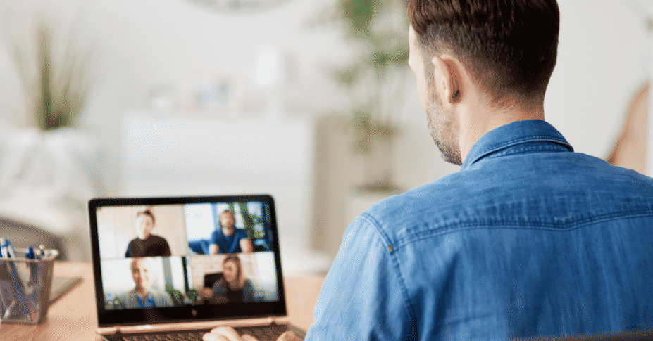 business owner video call with employees